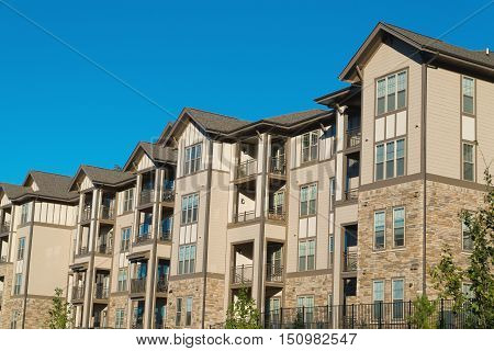 New typical apartment building in suburban area