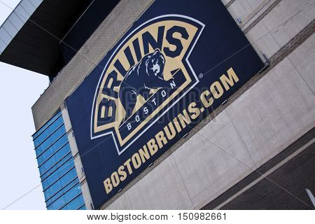 Boston MA September 9 2014 -- The Boston Bruin sign on the TD Garden stadium in Boston MA taken from the road below with angled perspective with blue sky on a bright sunny day. The TD Garden is the home of the Boston Bruins
