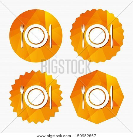 Plate dish with fork and knife. Eat sign icon. Cutlery etiquette rules symbol. Triangular low poly buttons with flat icon. Vector