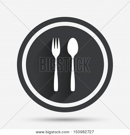 Eat sign icon. Cutlery symbol. Dessert fork and teaspoon. Circle flat button with shadow and border. Vector
