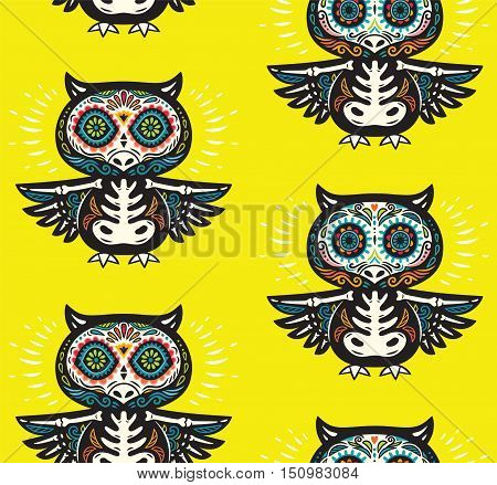 Seamless pattern - Day of The Dead cartoon calaveras sugar owl skulls. Mexican vector yellow background for holiday Dia de Muertos