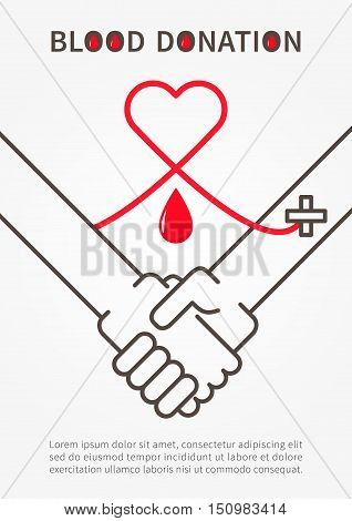 Blood Donation Handshake vector illustration with red heart and sample text. Blood Donation poster with handshake and red outline heartand the red line connecting hands.