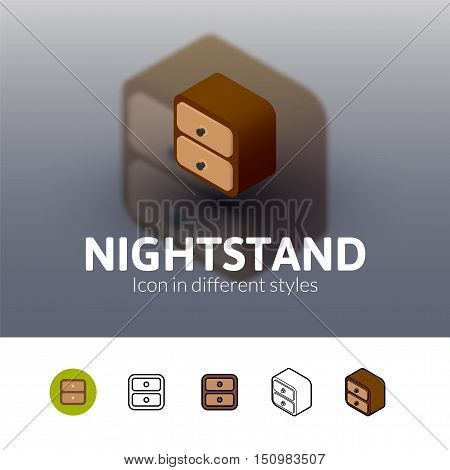 Nightstand color icon, vector symbol in flat, outline and isometric style isolated on blur background