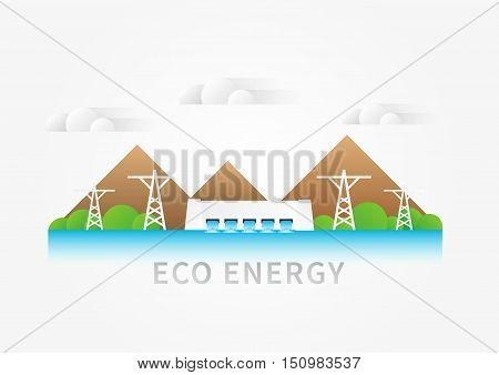 Hydroelectricity dam landscape vector illustration. Hydro powerhouse water electricity supply concept. Eco energy graphic design with renewable electricity sources hydro electric station.