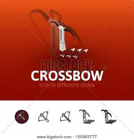 Crossbow color icon, vector symbol in flat, outline and isometric style isolated on blur background