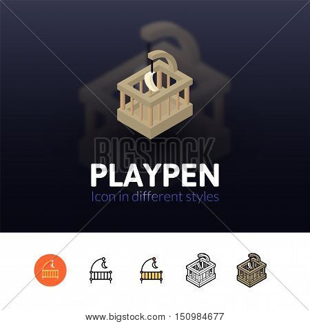 Playpen color icon, vector symbol in flat, outline and isometric style isolated on blur background