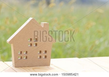 Wooden toy house on green field background