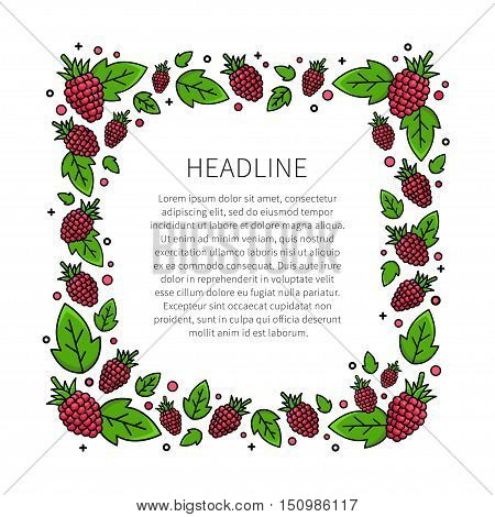 Raspberry line art vector illustration. Raspberry frame with sample text creative concept. Graphic design for poster banner placard. Template layout with text and berries.