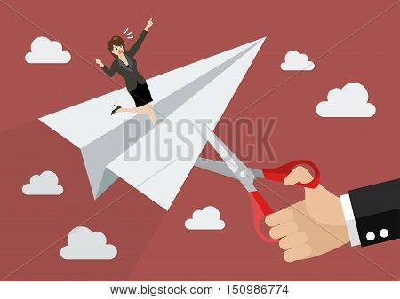 Big businessman hand cutting rival paper rocket. Business concept