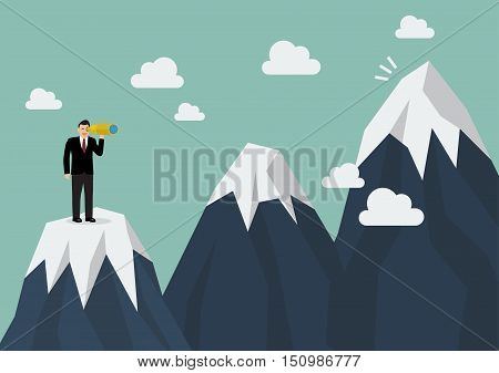 Businessman looking for mountain peak. Business concept
