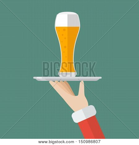 Santa Claus serving a glass of beer. Flat style design vector illustration