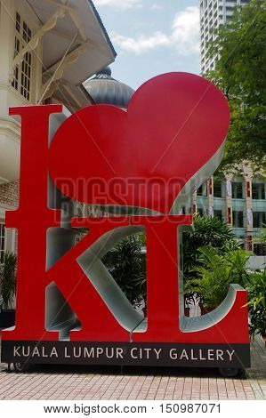 KUALA LUMPUR MALAYSIA -NOV. 16. 2016: The Icon front of The giant I LOVE KL is a must photo-stop in the city.