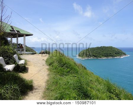 Viewpoint of Yanui Beach and Koh Kaeo Noi on Phuket island Andaman Sea in South Thailand.