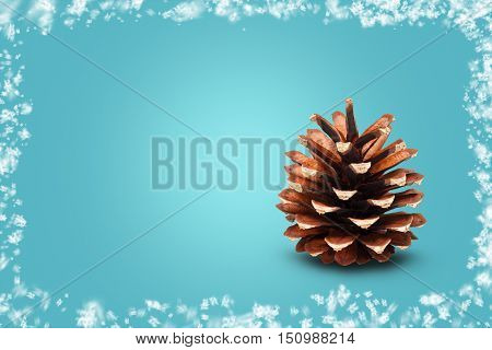 Single cone on blue background framed with snow. Festive Christmas greeting background
