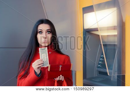 Broke Woman Holding One Dollar in Front of an ATM poster
