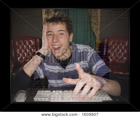 Teenage Boy Enjoying Computer 2