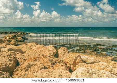 Sea bay in Paphos, Cyprus. This picture was taken in the city of Paphos in Cyprus.