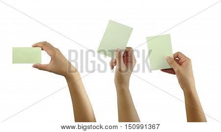 hand of man hold a note paper isolated on white background and have clipping paths to easy deployment.