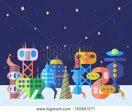 Extraterrestrial future city set in cartoon flat style. Bright future city extraterrestrial city.