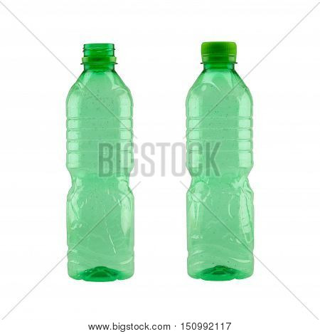 Green plastic bottle isolated on white background and have clipping paths to easy deployment.