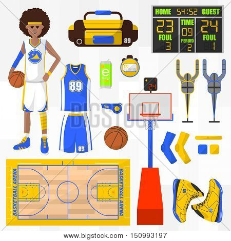 Set of basketball vector elements. Sport symbol: basket and ball, ring and player. Basketball equipment. Game competition concept. Flat vector icons. Vector illustration isolated on white background