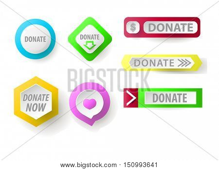 Donate button collection. Set of web buttons for charity, donate. icons donation gift charity, money giving. Modern UI donate buttons isolated on white background.