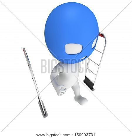3D shoplifter scanner and running thief man in mask isolated on white background. Scanner entrance gate for prevent theft in shop or store. Security concept.