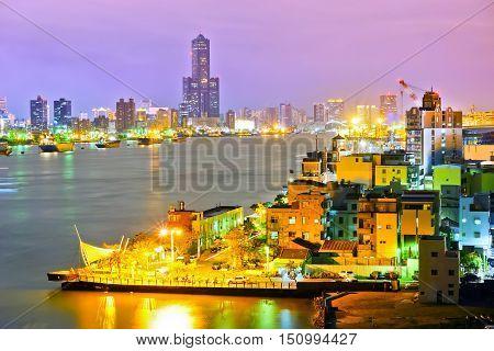 Kaohsiung Harbor at night in Kaohsiung, Taiwan.