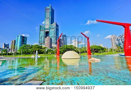 View of the Kaohsiung City in Taiwan in a sunny day