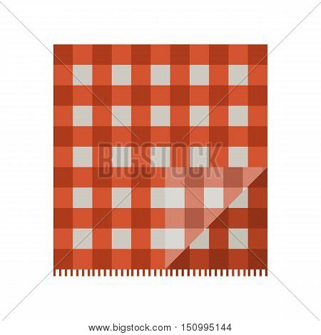 Colorful red folded picnic cloth vector illustration.