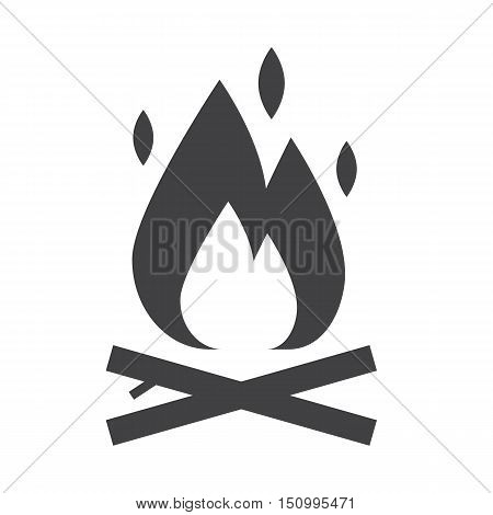 Camping fire outline icon. Bonfire vector silhouette. Campfire isolated on white background.