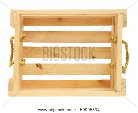 Wooden Crate with Golden Rope Lifting Ears isolated on white background