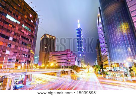 View of the Taipei City at night in Taiwan.