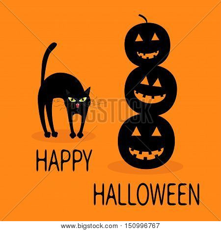 Cat arch back. Three black silhouette funny smiling pumpkins. Cute cartoon baby character. Happy Halloween. Greeting card. Orange background. Flat design. Vector illustration