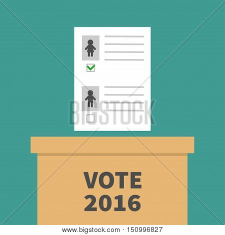 Ballot Voting box with paper blank bulletin Man Woman concept. Polling station. President election day Vote 2016. Green background Flat design Card. Vector illustration