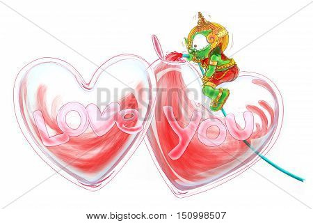 Thai Giant Cartoon Love fills the heart Thai Giant Green color character Design cute and funny Concept Lover in Valentines day isolate.