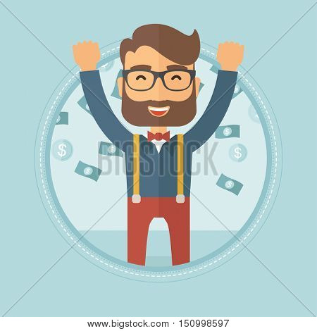 Happy young caucasian hipster businessman with beard standing with raised hands under flying money. Concept of business success. Vector flat design illustration in the circle isolated on background.