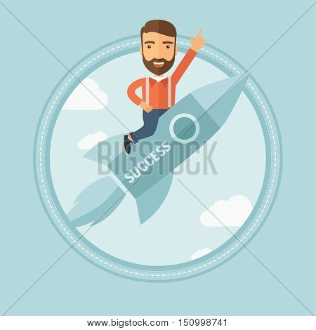 A hipster businessman flying on the business start up rocket and pointing his forefinger up. Successful business start up concept. Vector flat design illustration in the circle isolated on background.