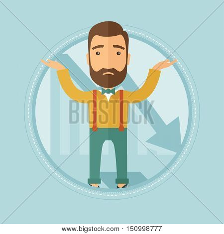 A stressed hipster businessman with the beard standing on the background of decreasing chart. Concept of business bankruptcy. Vector flat design illustration in the circle isolated on background.