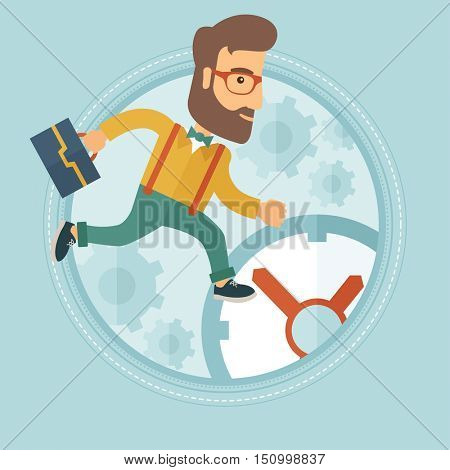 A hipster caucasian businessman with the beard running on the background of clock. Concept of time management, stress in business. Vector flat design illustration in the circle isolated on background.