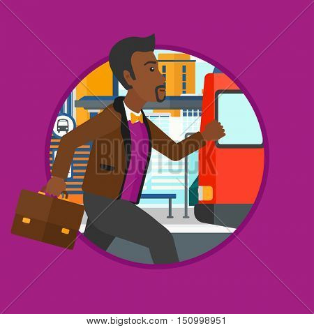 African-american latecomer man running along the sidewalk to reach a bus. Young man came too late at bus stop. Man chasing a bus. Vector flat design illustration in the circle isolated on background.
