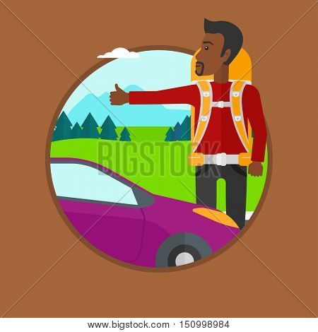 An african-american young man with backpack hitchhiking on roadside. Hitchhiking man trying to stop a car on the road. Vector flat design illustration in the circle isolated on background.