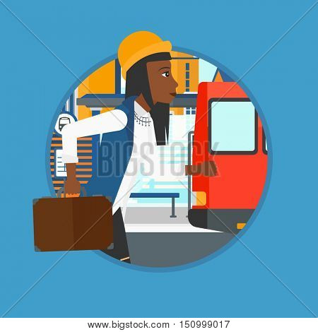 African-american latecomer woman running along the sidewalk to reach a bus. Woman came too late at bus stop. Woman chasing a bus. Vector flat design illustration in the circle isolated on background.