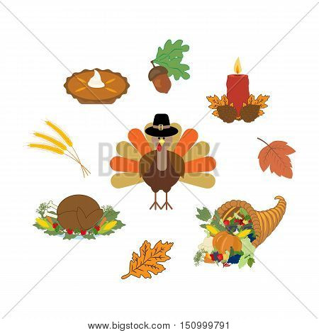 Thankgiving day set on the white background. Vector illustration
