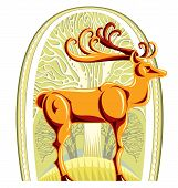 Deer with beautiful big horns and trees on background layer graphic stylized illustration. poster