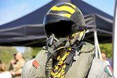 aviation military pilot helmet aeronautical uniform yellow poster