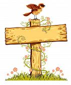 Wooden board with bird, flowers and curly plant on a grass. poster