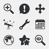 Magnifier glass and globe search icons. Fullscreen arrows and wrench key repair sign symbols. Attention, investigate and stars icons. Telescope and calendar signs. Vector poster