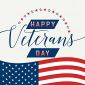 Vector illustration of waving American flag with lettering Happy Veterans Day. November 11 United state of America USA veterans day design old style. Veterans Day retro poster card celebration design poster