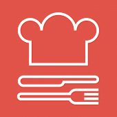 Chef hat fork and knife. Restaurant and gastronomy symbol poster
